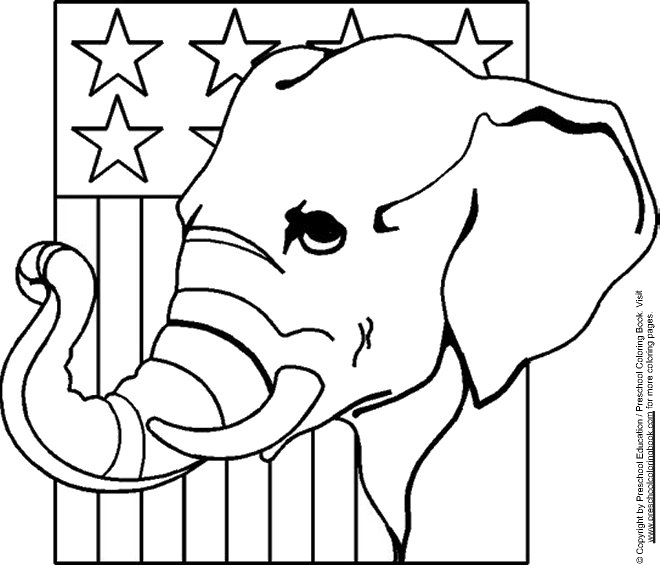 www.preschoolcoloringbook.com / Election Day Coloring Page